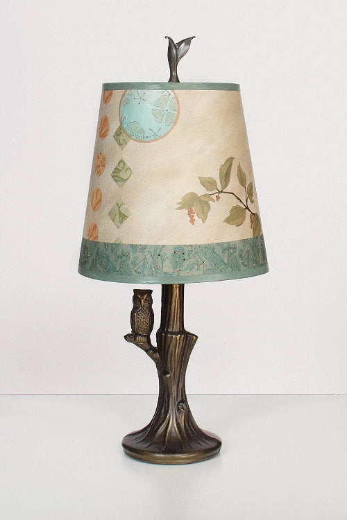 Bronze Owl Lamp with Small Drum Shade in Celestial Leaf Lit