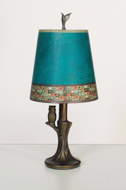 Bronze Owl Lamp with Small Drum Shade in Jade Mosaic