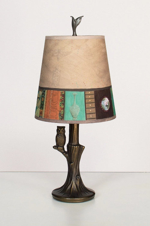 Bronze Owl Lamp with Small Drum Shade in Linen Match LIt