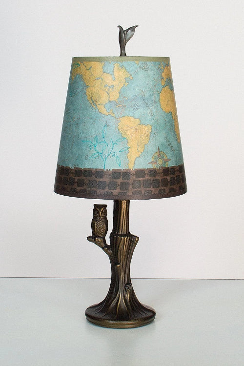 Bronze Owl Lamp with Small Drum Shade in Map Lit