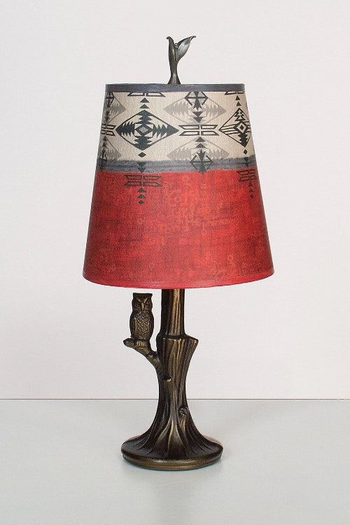 Bronze Owl Lamp with Small Drum Shade in Mesa Lit
