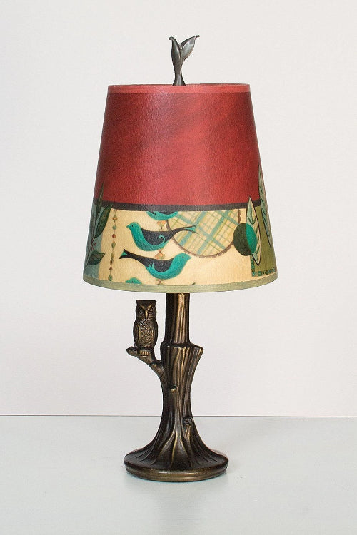 Bronze Owl Lamp with Small Drum Shade in New Capri Lit