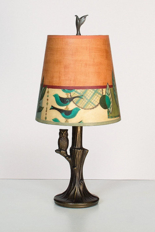 Bronze Owl Lamp with Small Drum Shade in New Capri Spice Lit