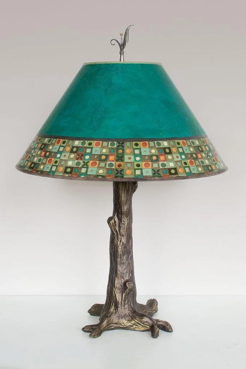 Bronze Tree Table Lamp with Large Conical Shade in Jade Mosaic