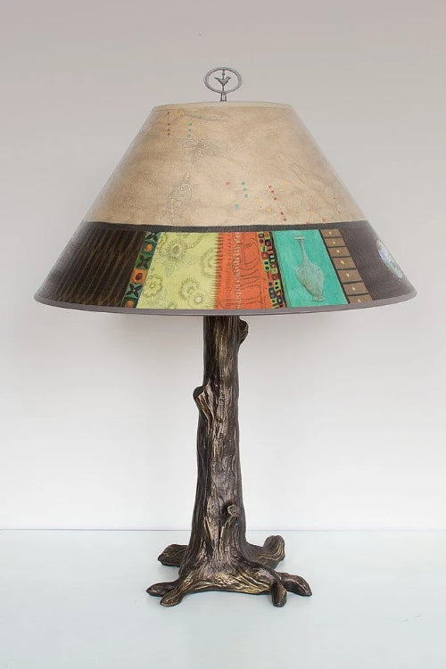 Bronze Tree Table Lamp with Large Conical Shade in Linen Match