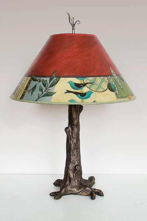 Bronze Tree Table Lamp with Large Conical Shade in New Capri