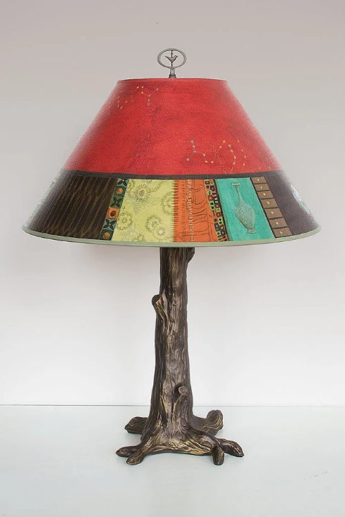 Bronze Tree Table Lamp with Large Conical Shade in Red Match