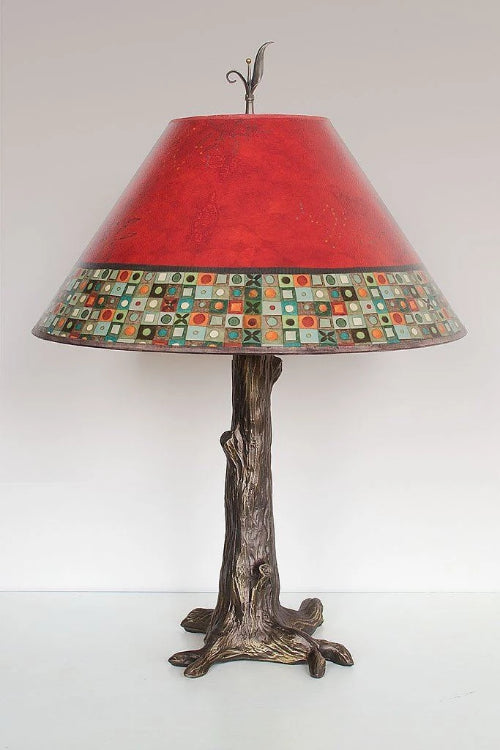 Bronze Tree Table Lamp with Large Conical Shade in Red Mosaic