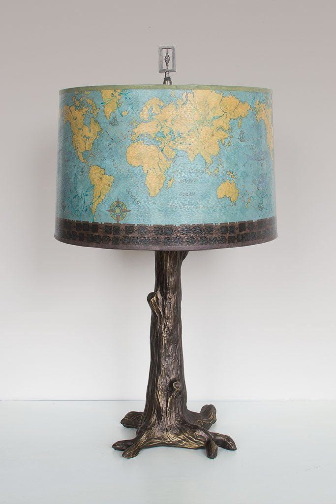 Bronze Tree Table Lamp with Large Drum Shade in Map