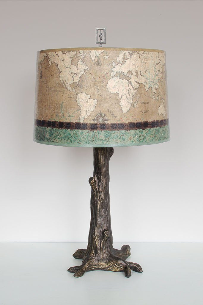 Bronze Tree Table Lamp with Large Drum Shade in Sand Map