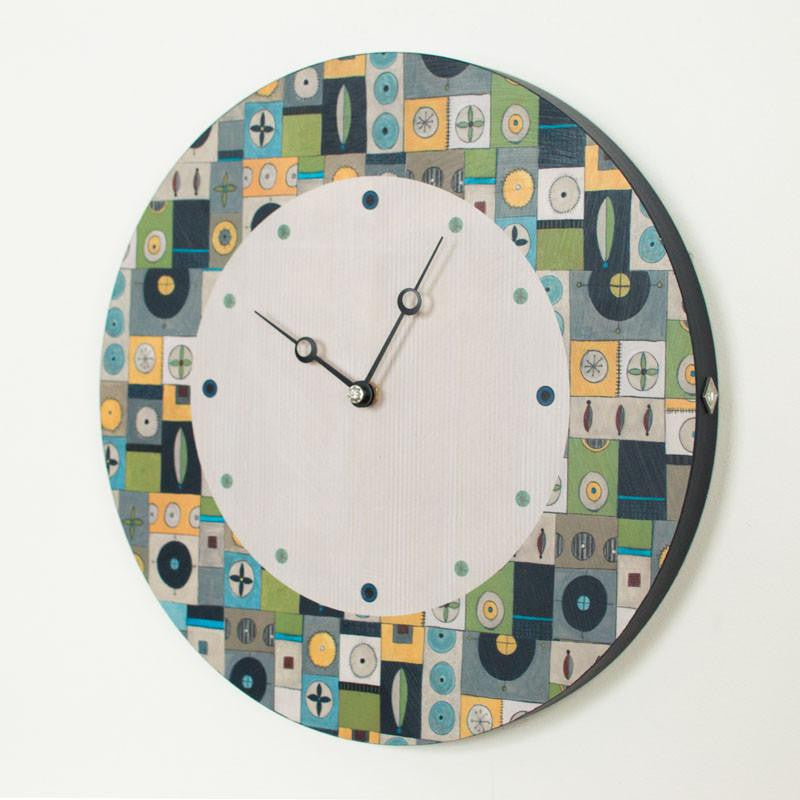 Round Wall Clock in Lucky Mosaic Oyster
