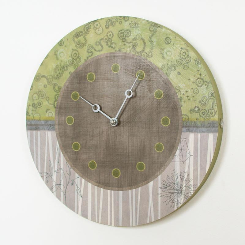 Round Wall Clock in Green Typography