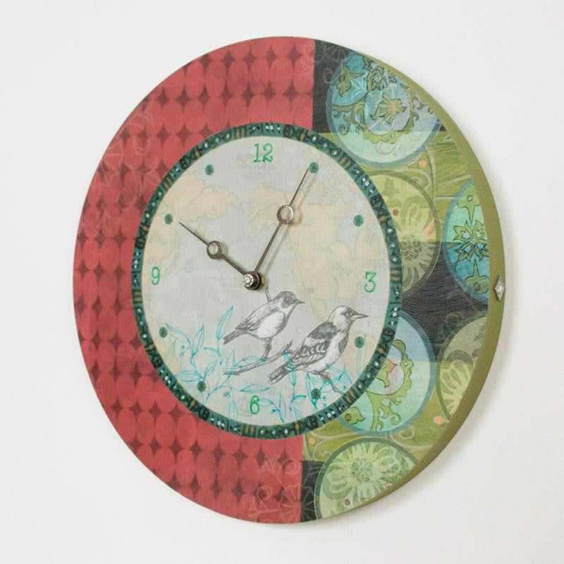 Round Wall Clock in Twin Bird