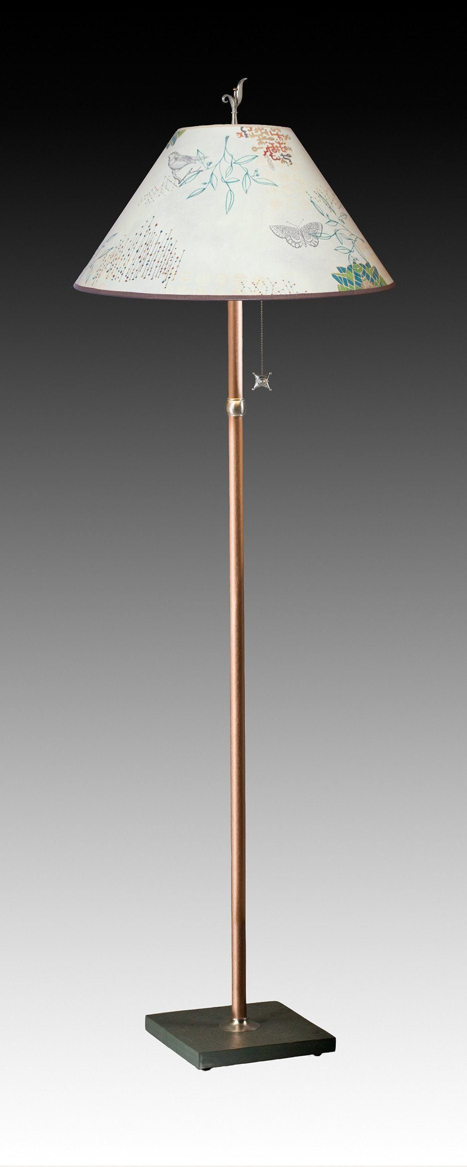 Copper Floor Lamp on Vermont Slate Base with Large Conical Shade in Ecru Journey