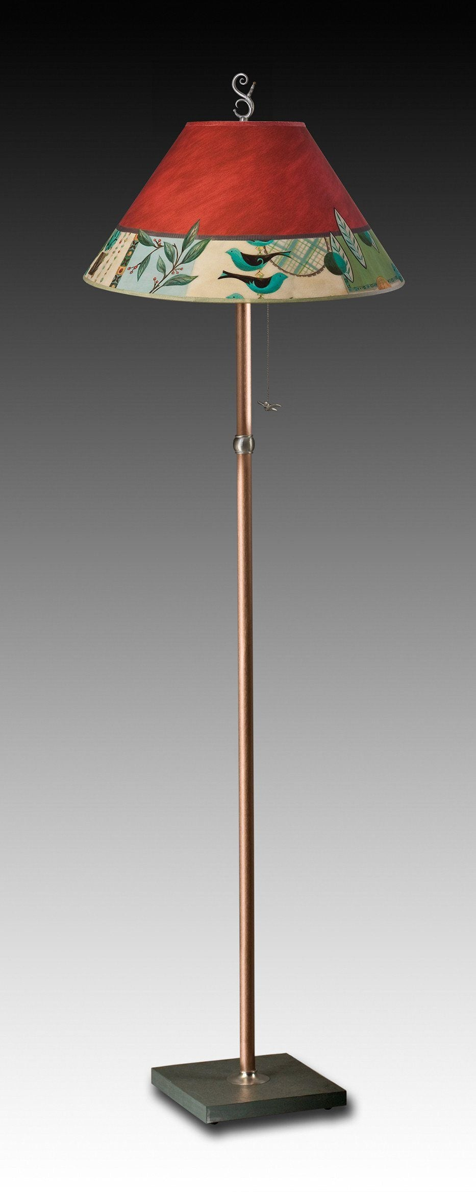 Copper Floor Lamp on Vermont Slate Base with Large Conical Shade in New Capri