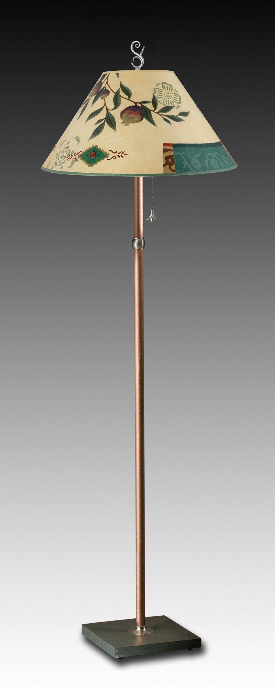 Copper Floor Lamp on Vermont Slate Base with Large Conical Shade in Pomegranate Ribbon