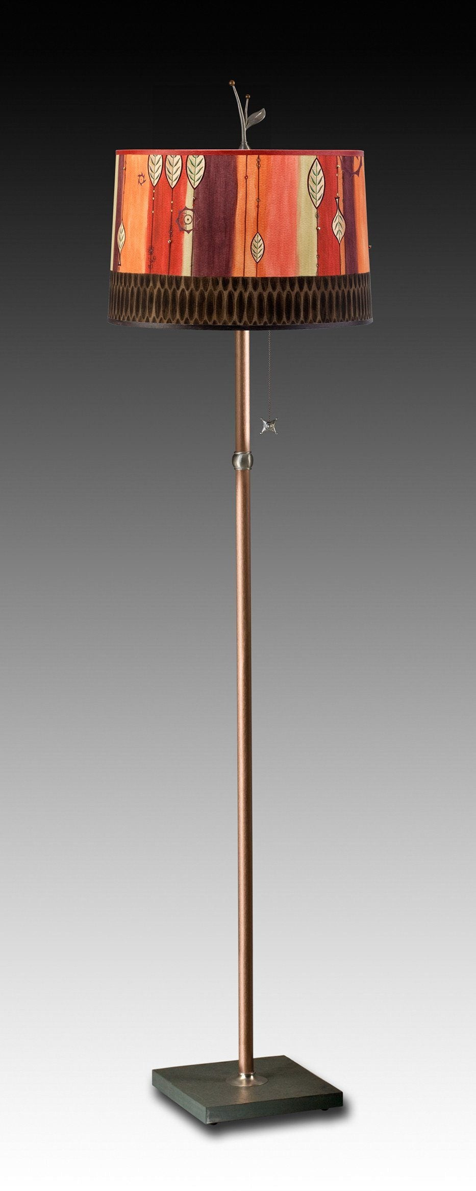 Copper Floor Lamp on Vermont Slate with Large Drum Shade in Leaf Stripe Red