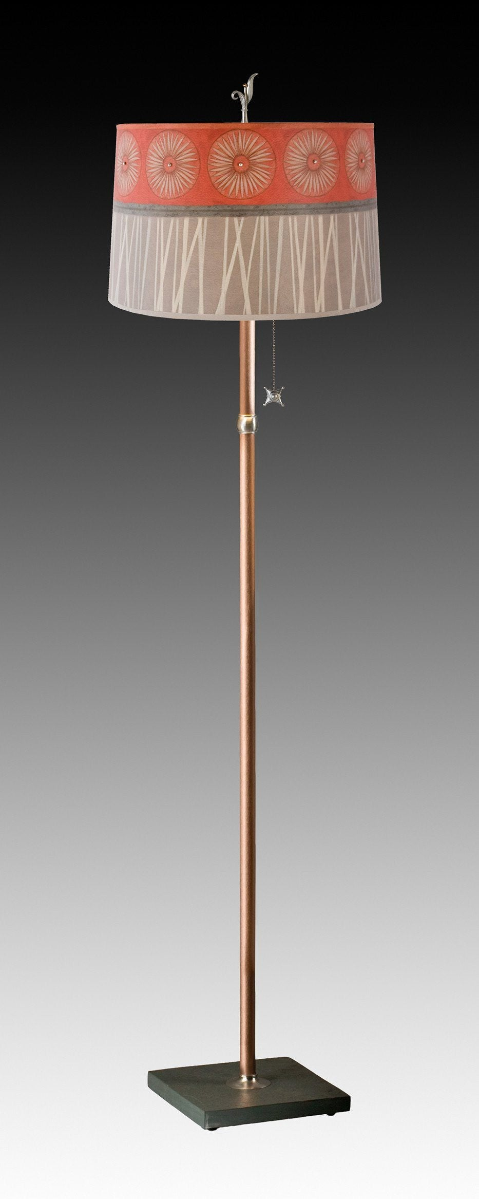 Copper Floor Lamp on Vermont Slate with Large Drum Shade in Tang
