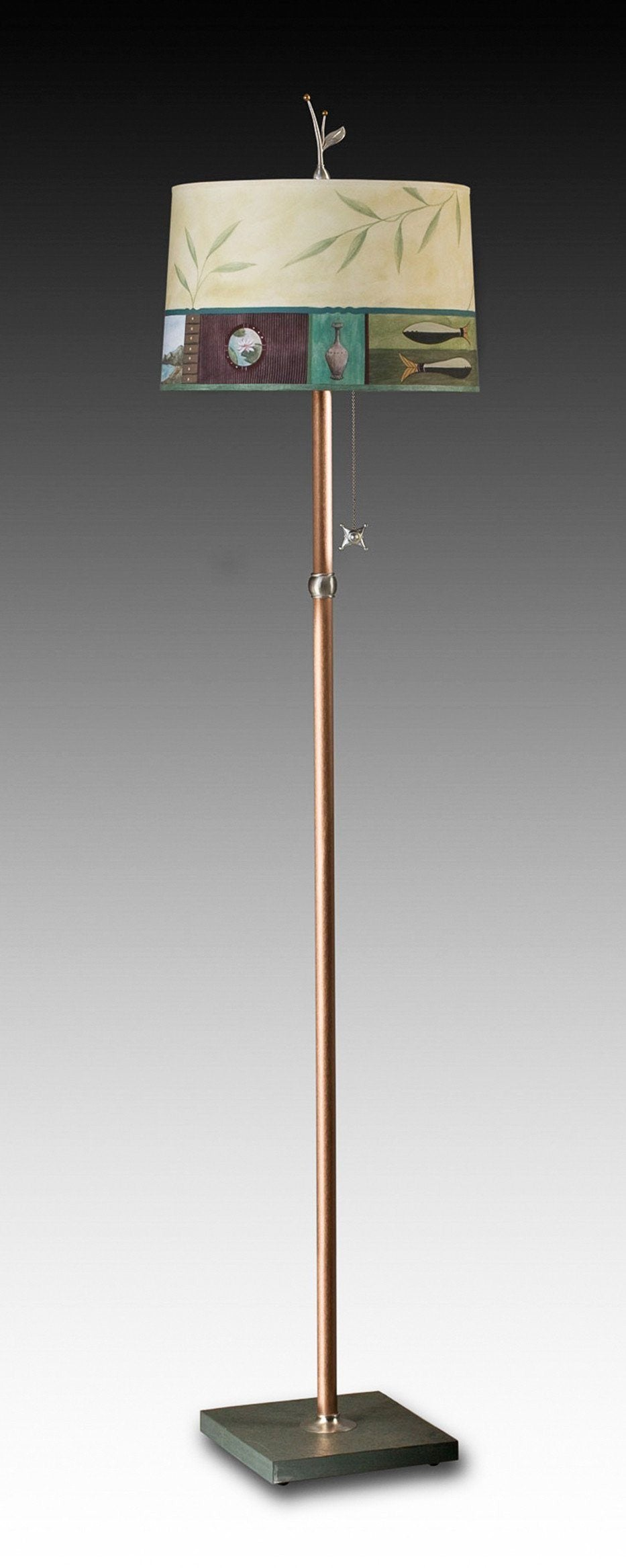 Copper Floor Lamp on Vermont Slate with Large Drum Shade in Twin Fish