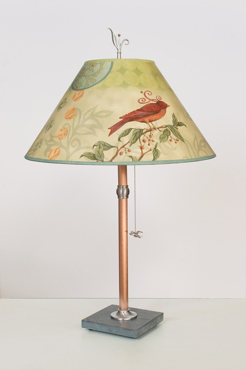 Copper Table Lamp on Vermont Slate with Large Conical Shade in Birdscape