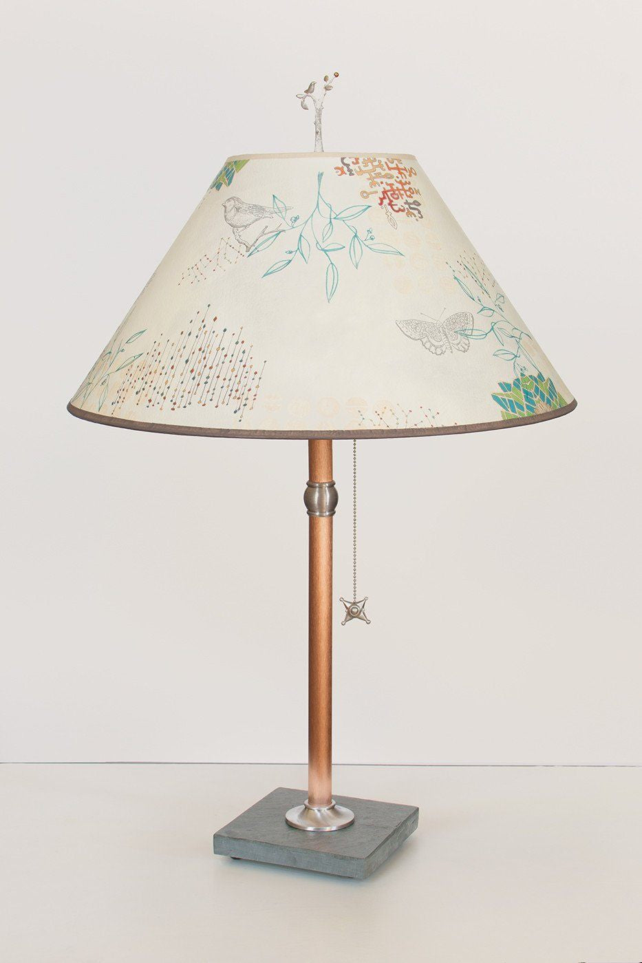 Copper Table Lamp on Vermont Slate with Large Conical Shade in Ecru Journey