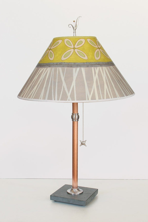 Satin Copper Slate : Copper table lamp on vermont slate with large conical