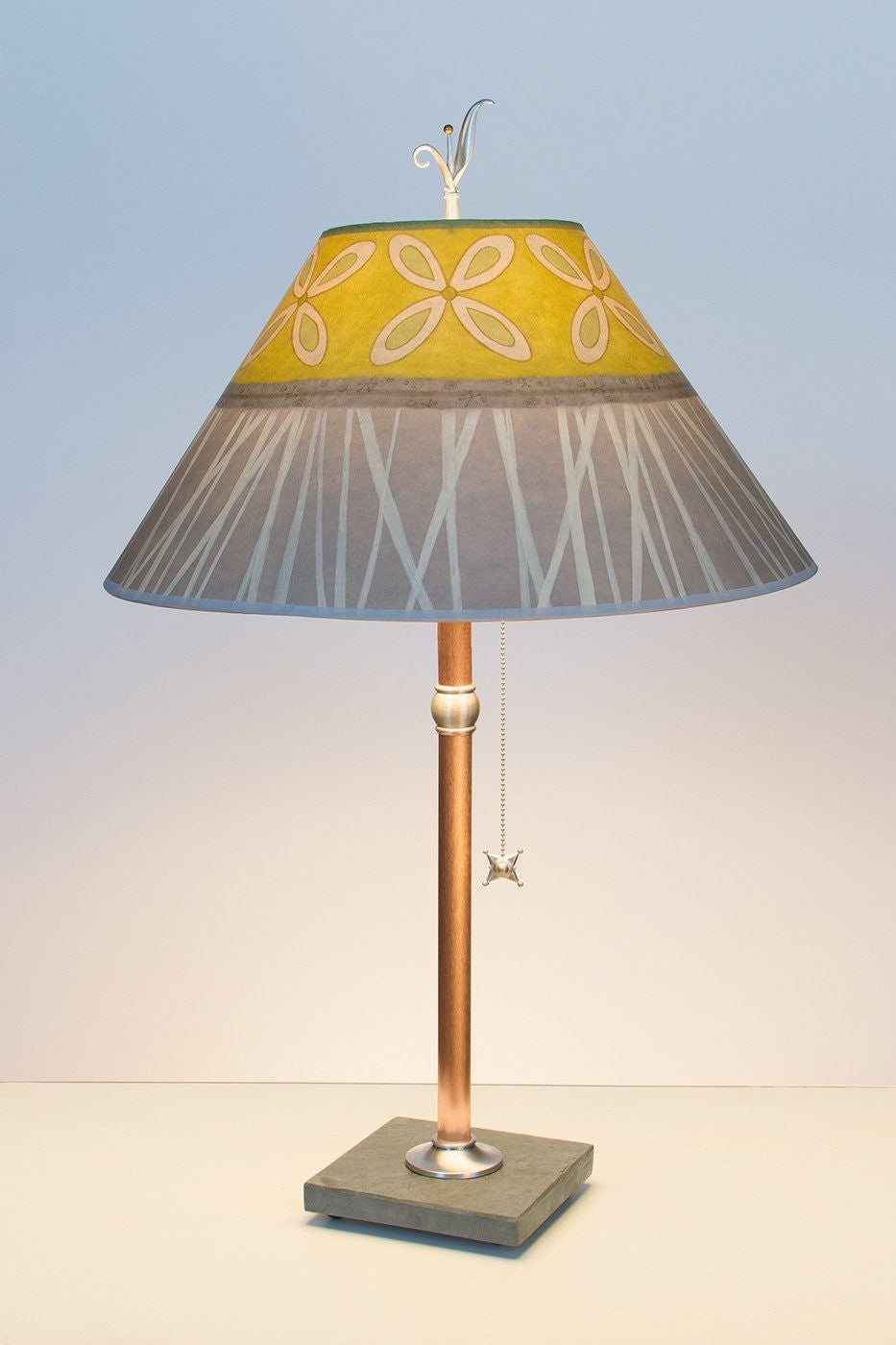Copper Table Lamp On Vermont Slate With Large Conical Shade In Kiwi