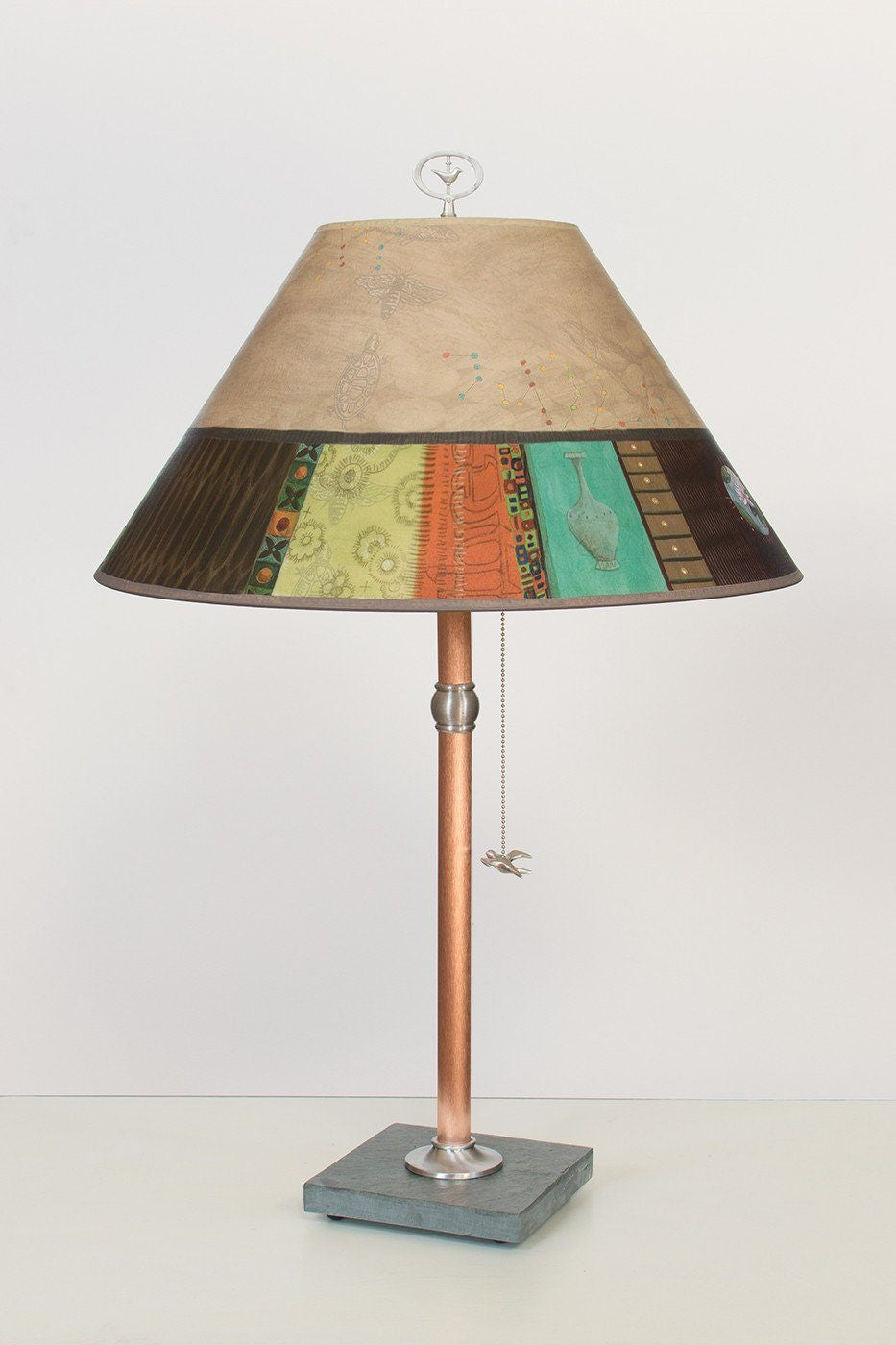 Copper Table Lamp on Vermont Slate with Large Conical Shade in Linen Match