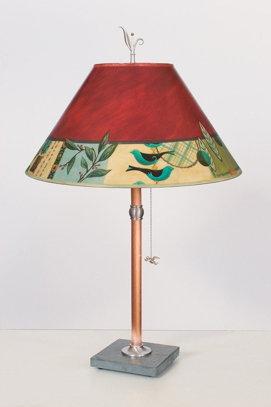 Copper Table Lamp on Vermont Slate with Large Conical Shade in New Capri