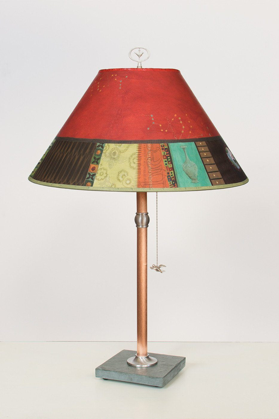 Copper Table Lamp on Vermont Slate with Large Conical Shade in Red Match