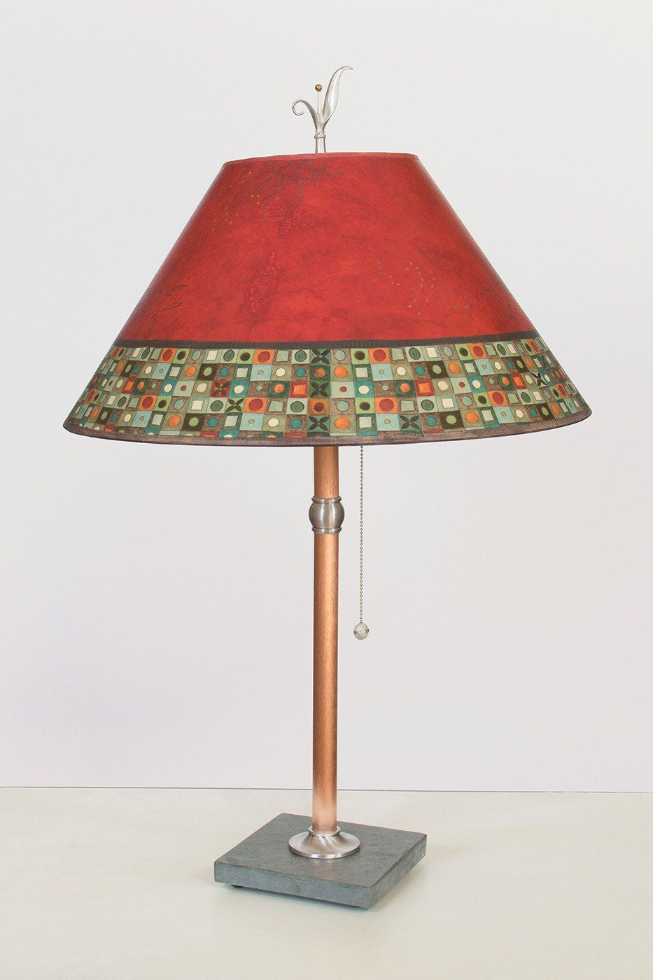 Copper Table Lamp on Vermont Slate with Large Conical Shade in Red Mosaic
