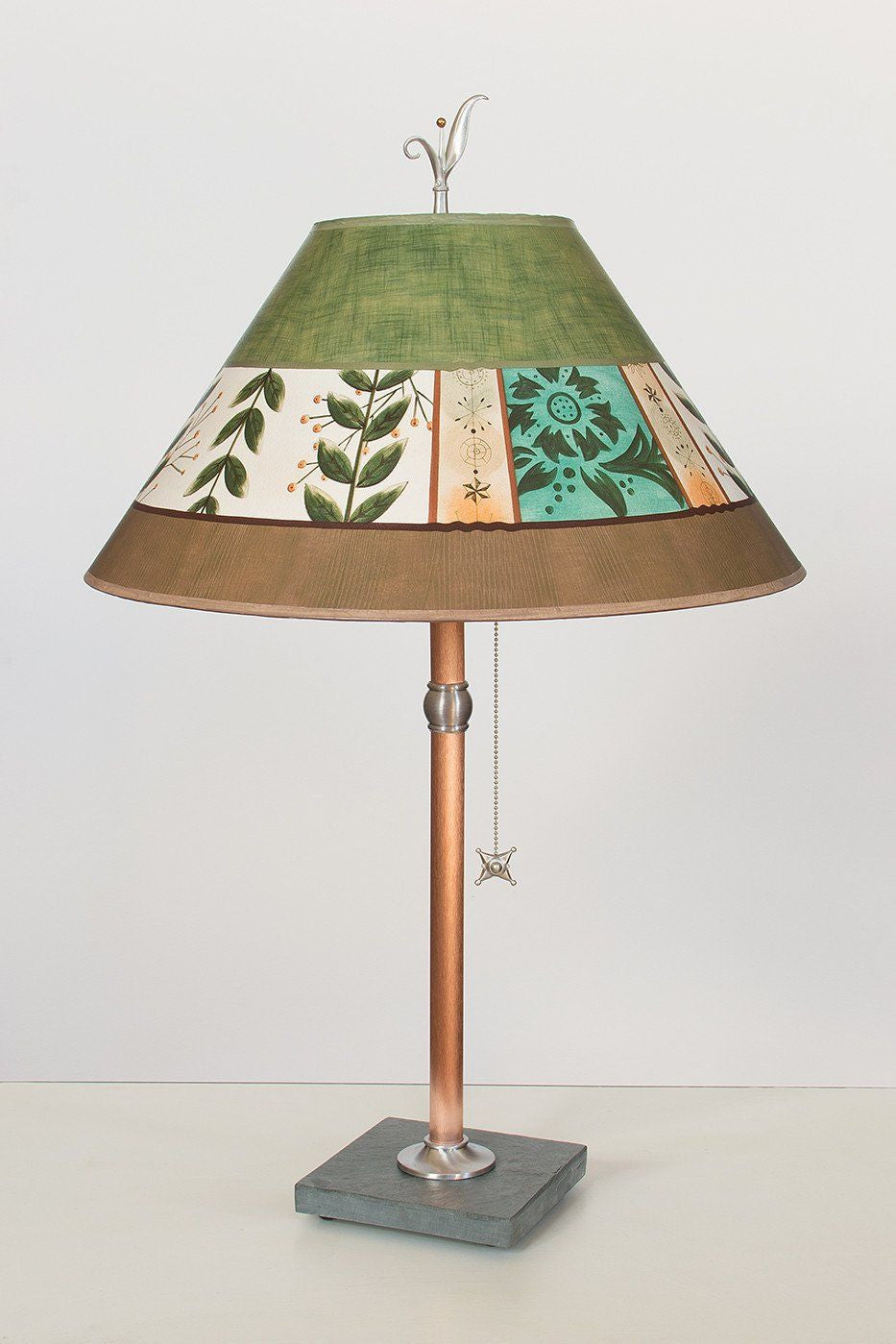 Copper Table Lamp on Vermont Slate with Large Conical Shade in Spring Medley Apple