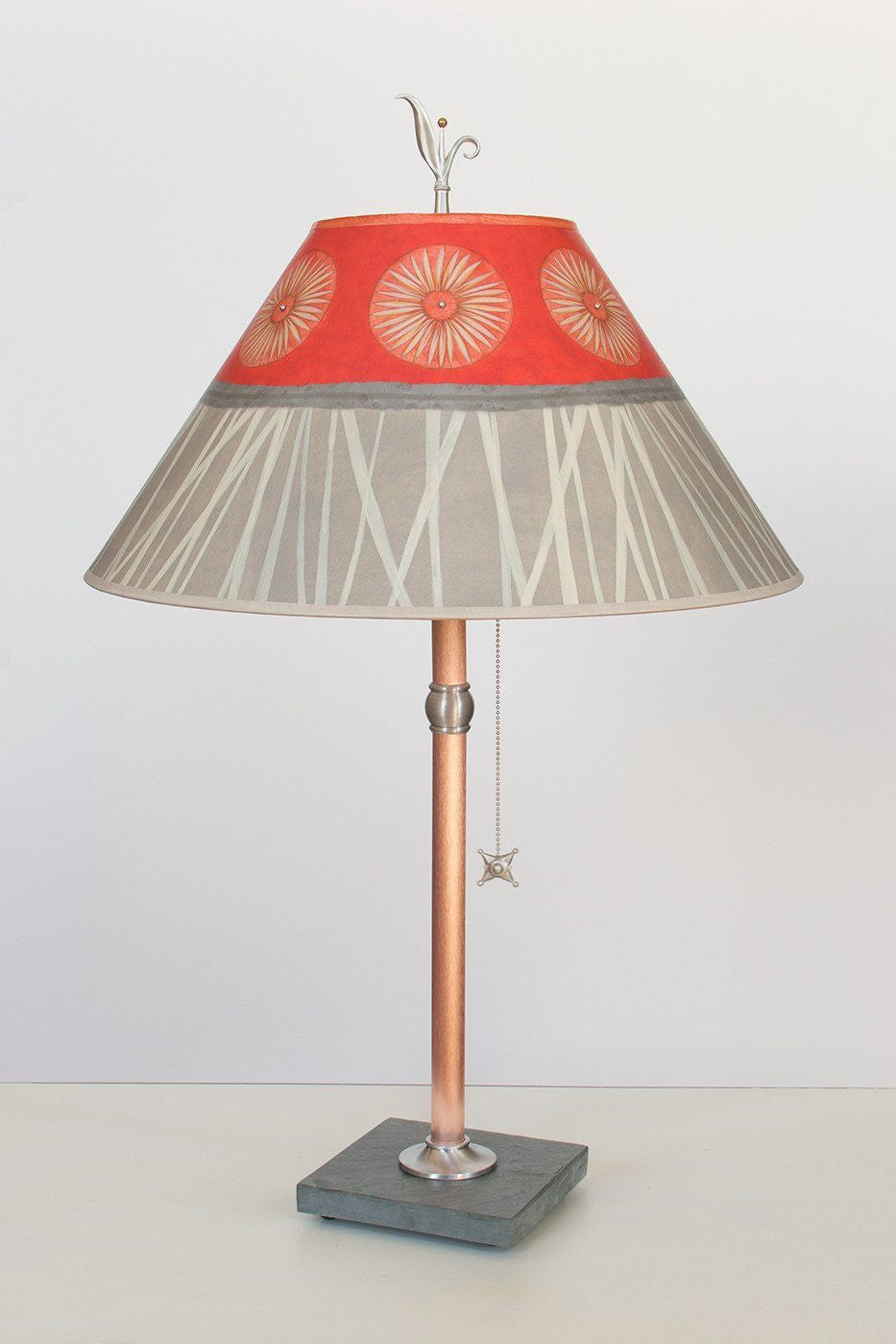 Copper Table Lamp on Vermont Slate with Large Conical Shade in Tang