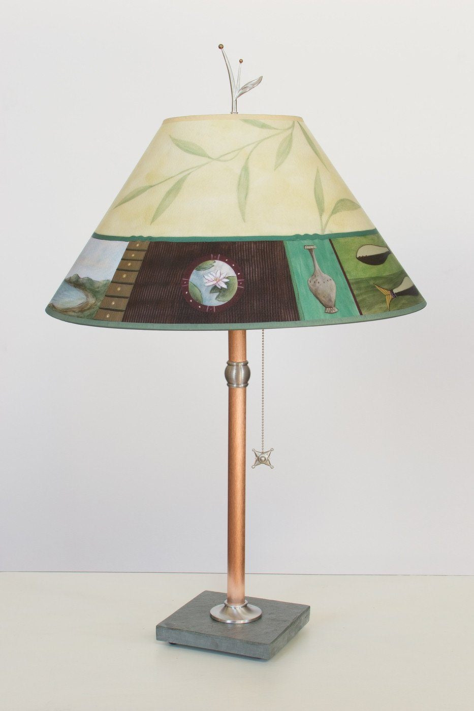 Copper Table Lamp on Vermont Slate with Large Conical Shade in Twin Fish