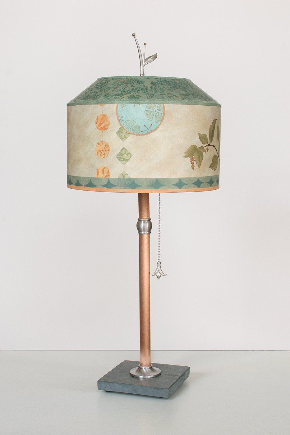 Copper Table Lamp on Vermont Slate with Medium Canopy Shade in Celestial Leaf