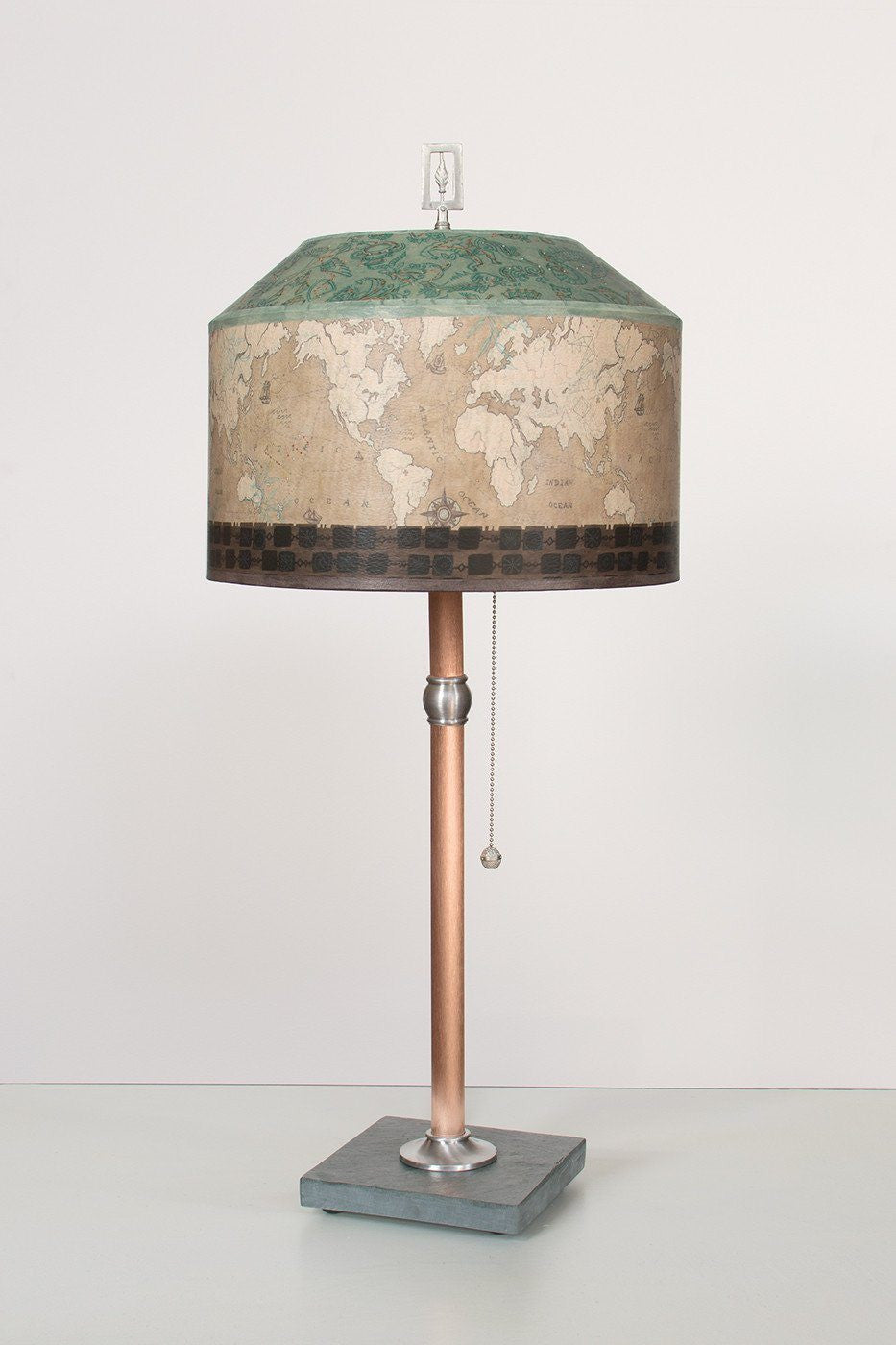 Copper Table Lamp On Vermont Slate With Medium Canopy Shade In Sand Map