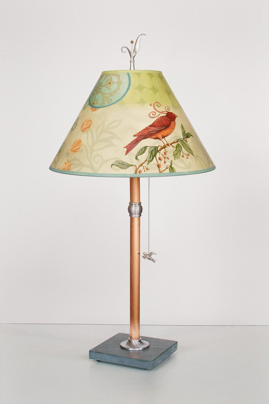 Copper Table Lamp with Medium Conical Shade in Birdscape - Lit