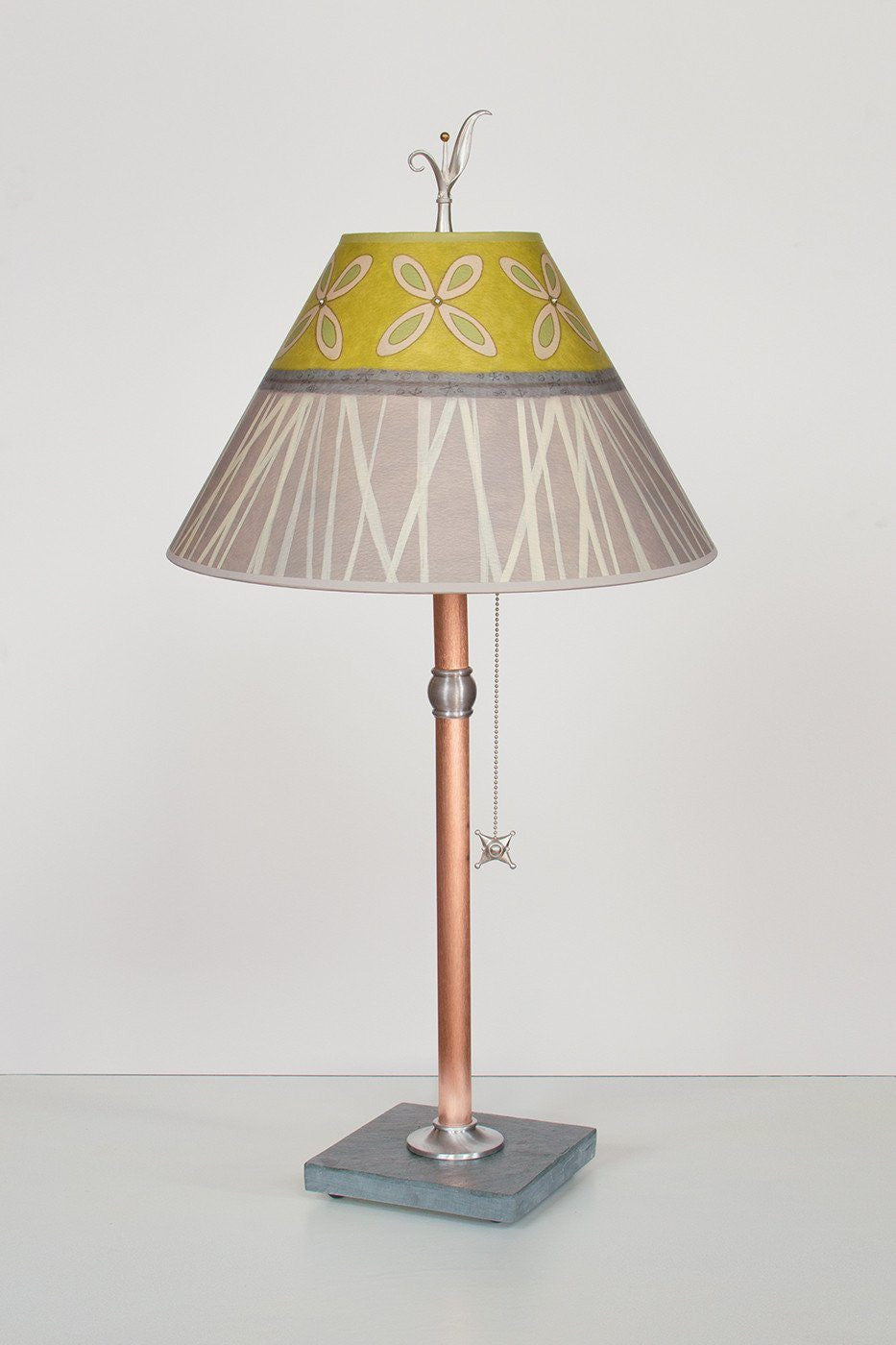 Copper Table Lamp with Medium Conical Shade in Kiwi - Lit