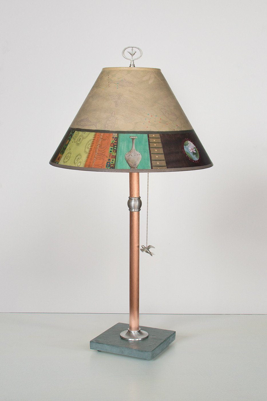 Copper Table Lamp with Medium Conical Shade in Linen Match - Lit