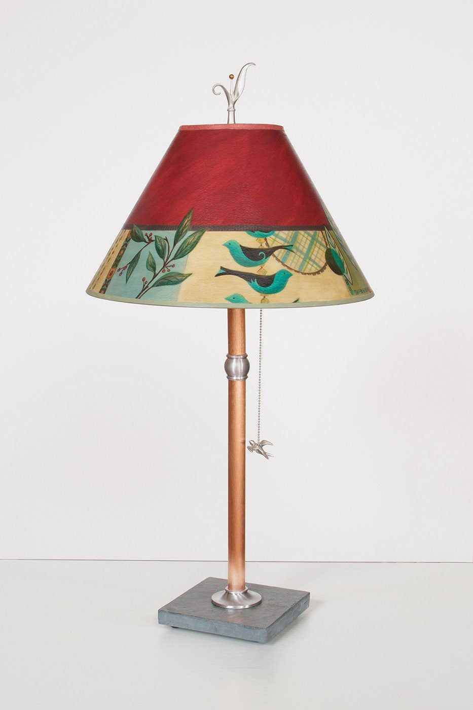 Copper Table Lamp with Medium Conical Shade in New Capri - Lit