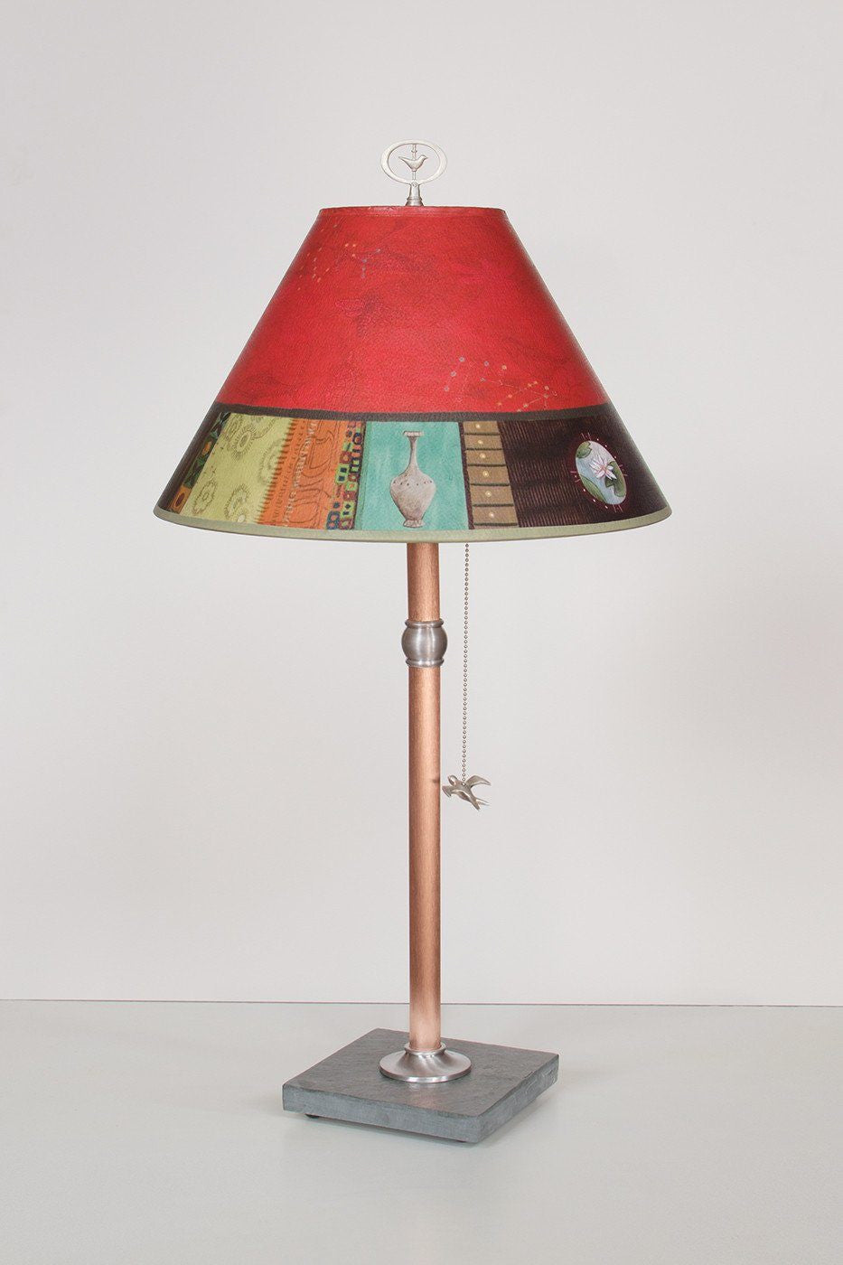 Copper Table Lamp with Medium Conical Shade in Red Match - Lit
