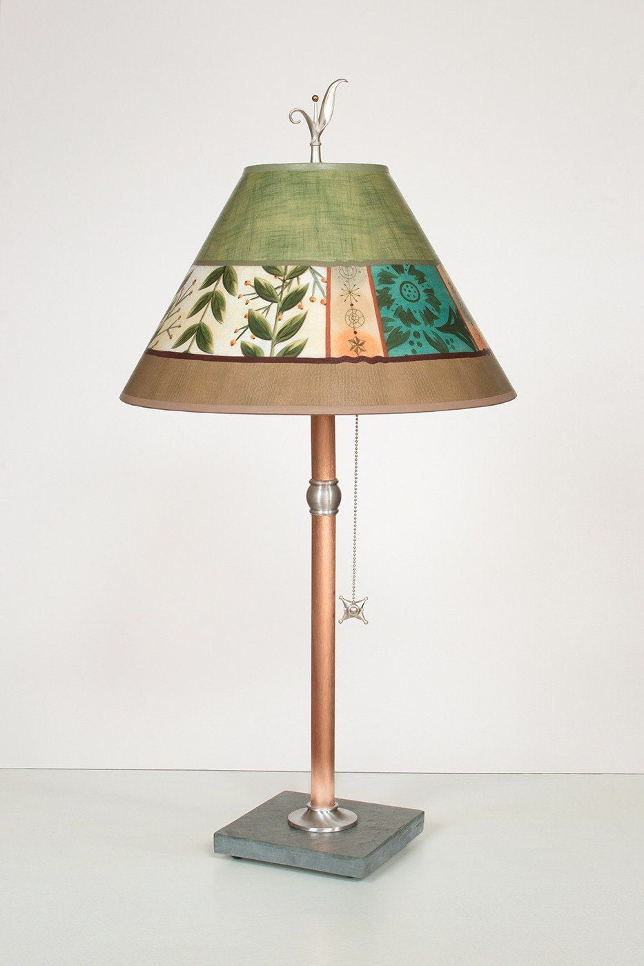 Copper Table Lamp with Medium Conical Shade in Spring Medley Apple - Lit