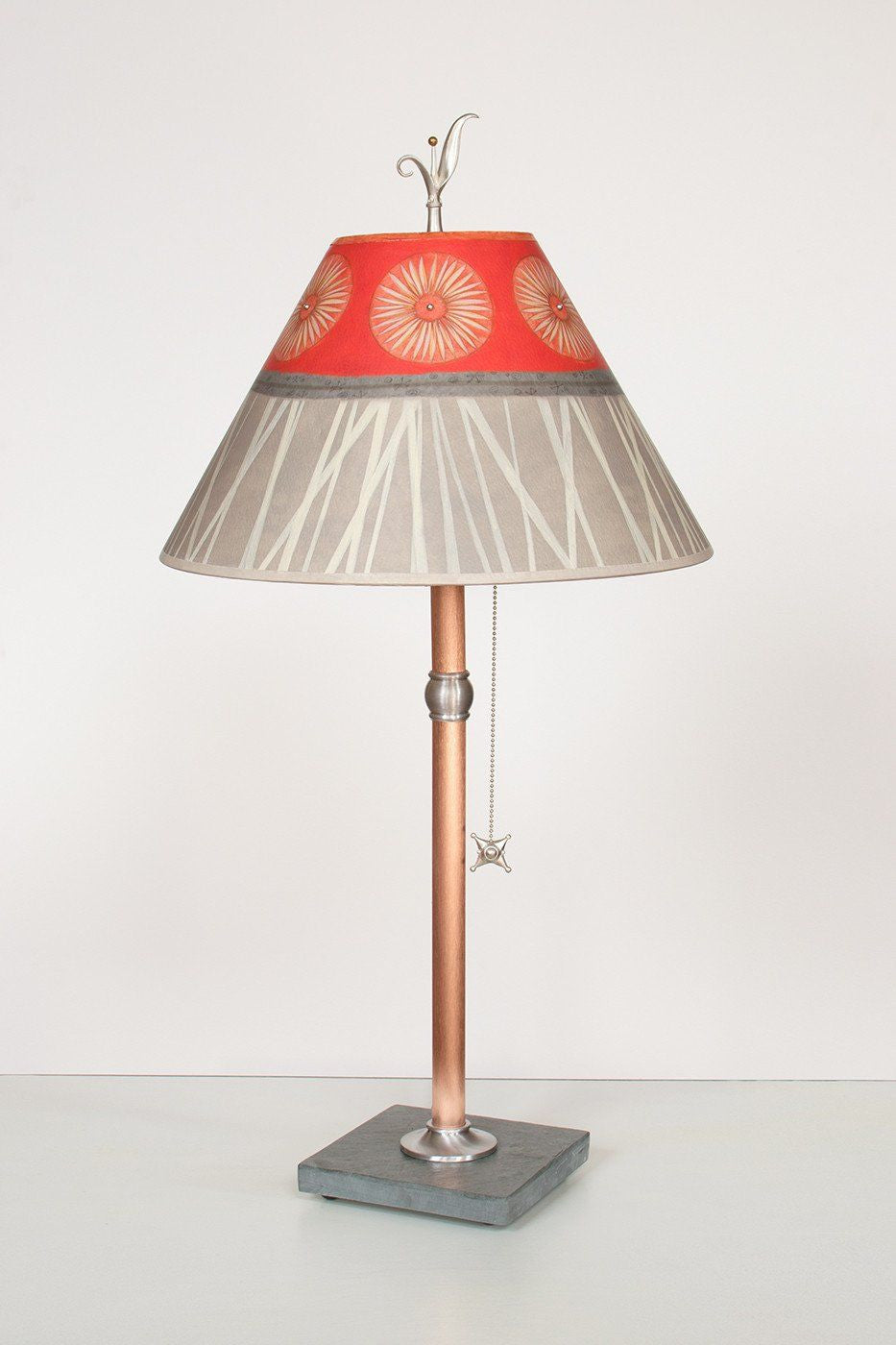 Copper Table Lamp with Medium Conical Shade in Tang - Lit