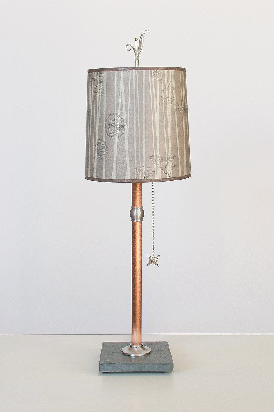Copper Table Lamp with Medium Drum Shade in Birch