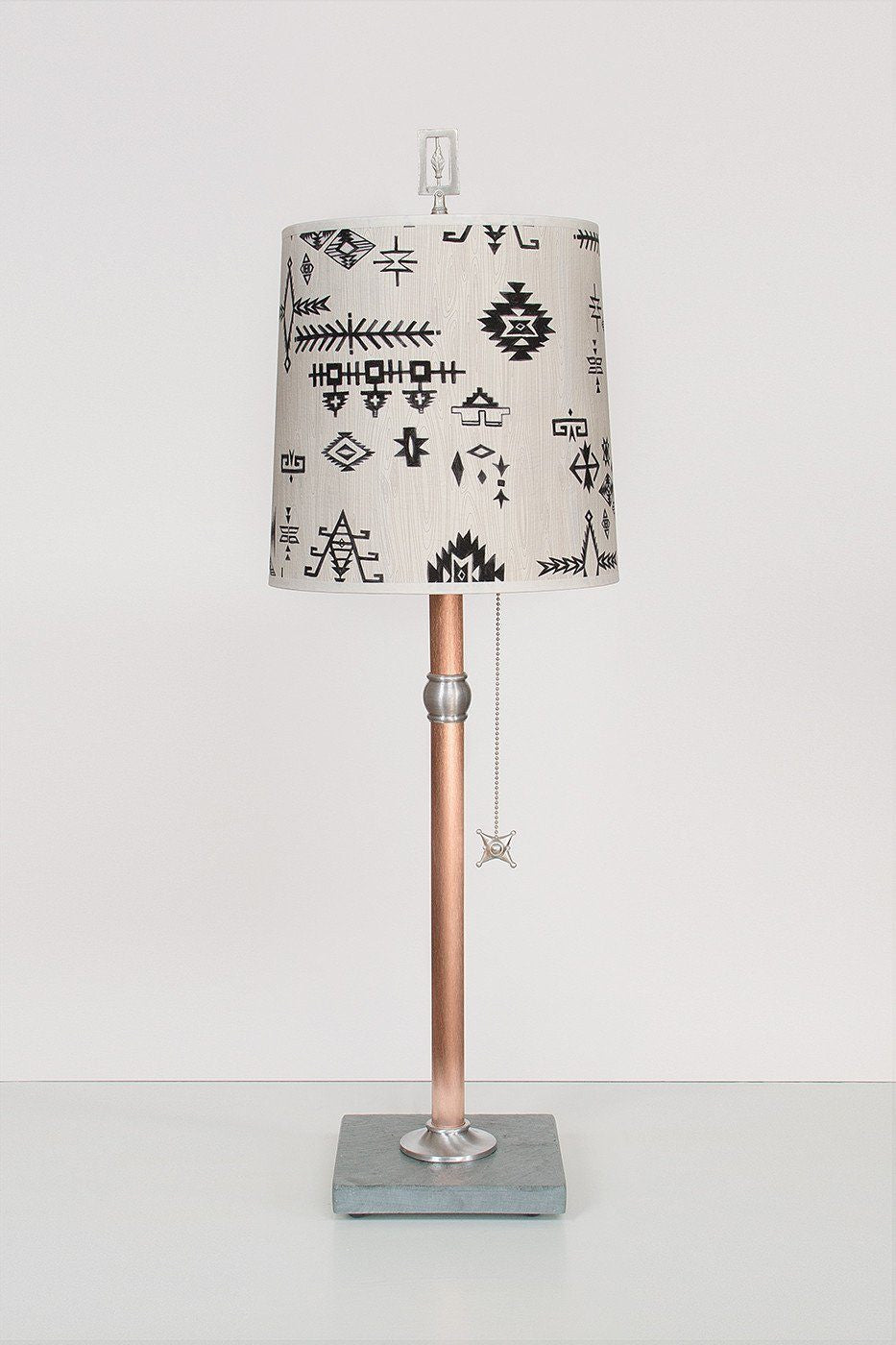 Copper Table Lamp with Medium Drum Shade in Blanket Sketch