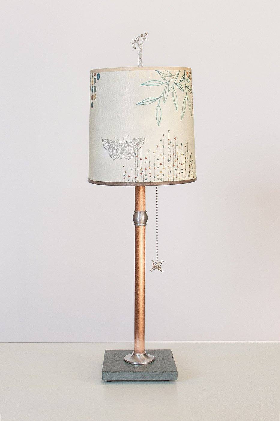 Copper Table Lamp with Medium Drum Shade in Ecru Journey