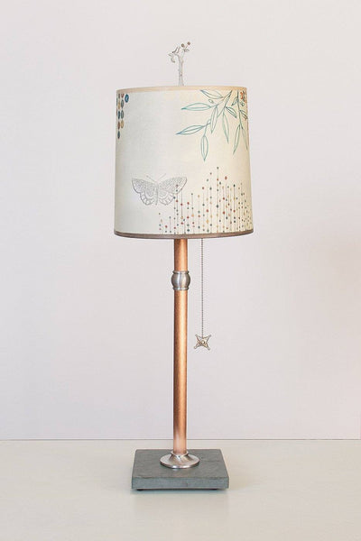 ... Copper Table Lamp With Medium Drum Shade In Ecru Journey