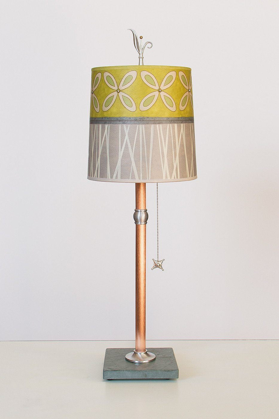 Copper Table Lamp with Medium Drum Shade in Kiwi