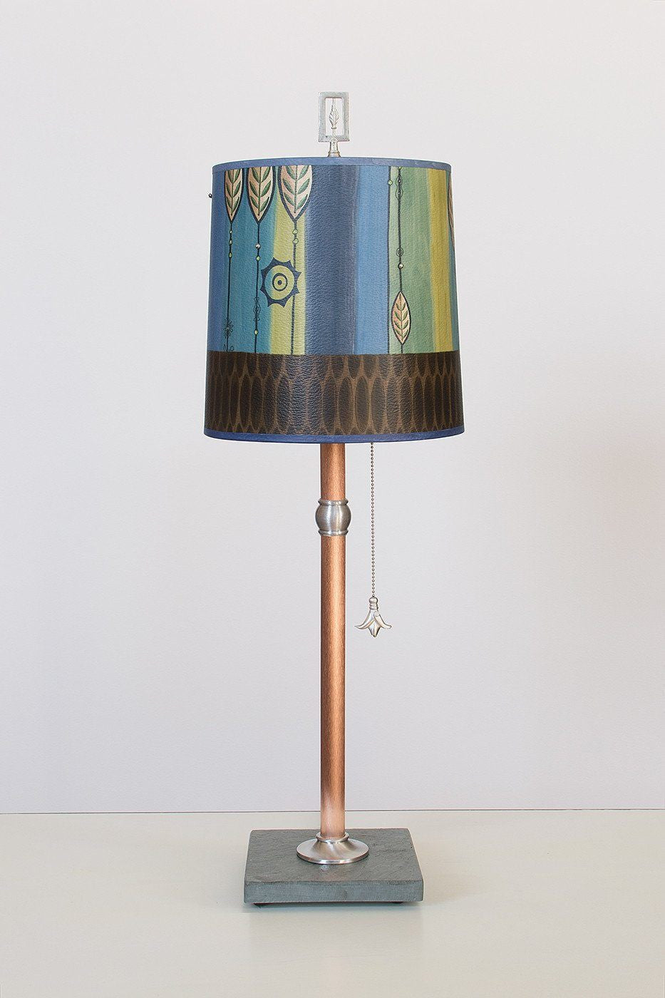 Copper Table Lamp with Medium Drum Shade in Leaf Stripe Blues