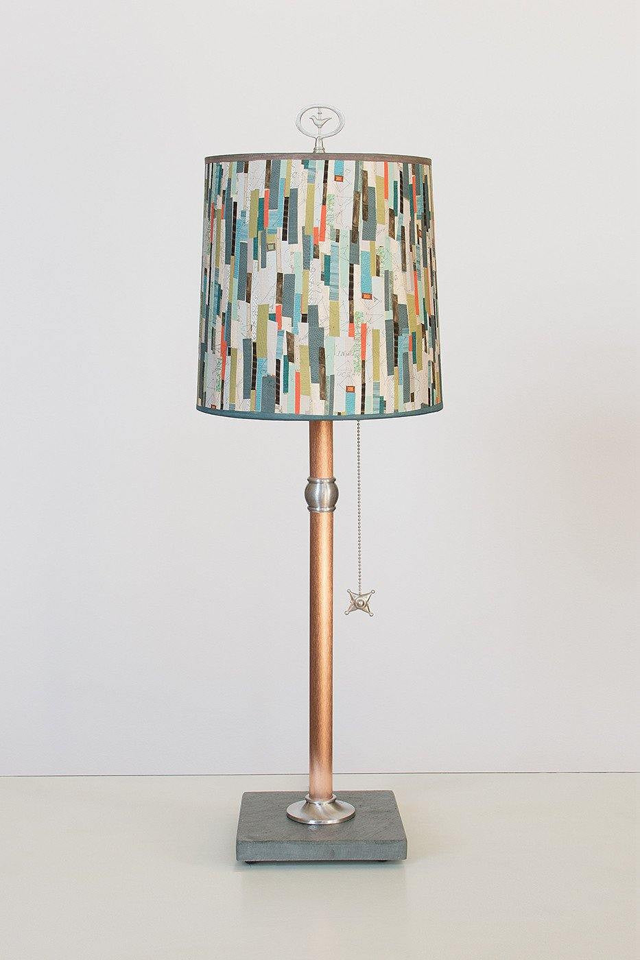 Copper Table Lamp with Medium Drum Shade in Papers